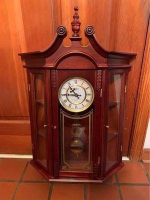 Cherry Wood Wall Clock with Pendulum and Glass Doors for Sale in Newport News, VA