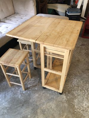 Table with drawers and storage for 2 stools for Sale in Gig Harbor, WA