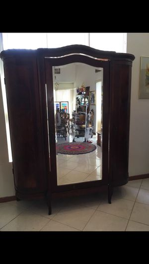 1900 Antique Armoire with mirror. Solid wood. OBO for Sale in Miami, FL