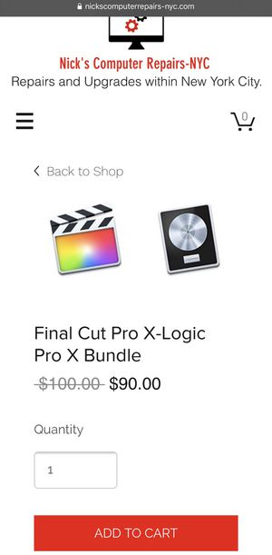 Final Cut Pro X-Logic Pro X Bundle for Sale in New York, NY