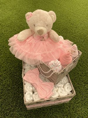 Pink Baby Girl Diaper Basket with Stuffed Teddy Bear, Two Tier Diaper Gift Basket with Decorations for Sale in Shadow Hills, CA