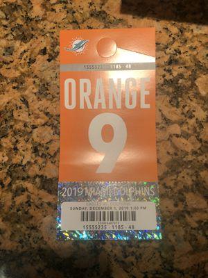 Miami Dolphins vs Philadelphia Eagles orange parking pass for Sale in Miami, FL