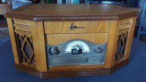 Emerson heritage wood cabinet turntable cassette cd player amfm player for Sale in Tacoma, WA