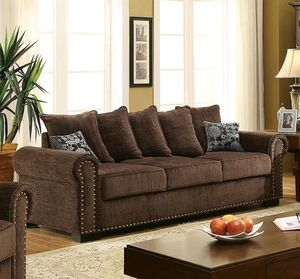 Chocolate chenille fabric sofa couch/No Credit Needed No Credit Check Apply Today for Sale in Downey, CA