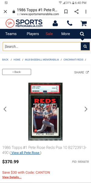 86 Topps Pete Rose for Sale in Farmington, IL