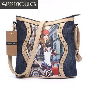 Annmouler Brand Women Bag Patchwork Ladies Messenger Bags Fashion Denim Shoulder Bag Cartoon Printing Crossbody Bag Zipper for Sale in Orlando, FL