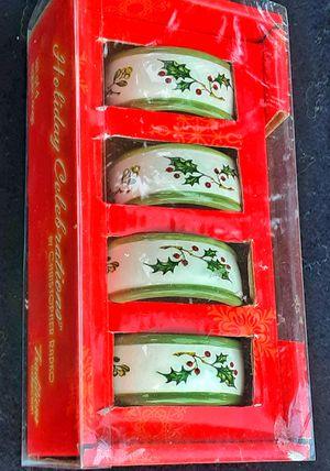 Celebrations Christopher Radko holly berry porcelain napkin ring set of 4 ! for Sale in Saginaw, MI