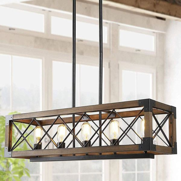5-Lights Wood Farmhouse Chandelier for Dining Room, Kitchen, Outdoor, indoor