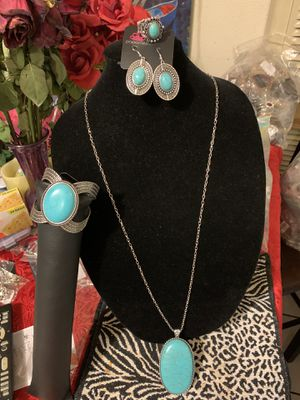 New 4pc set color silver with turquoise stones for Sale in Orange, CA