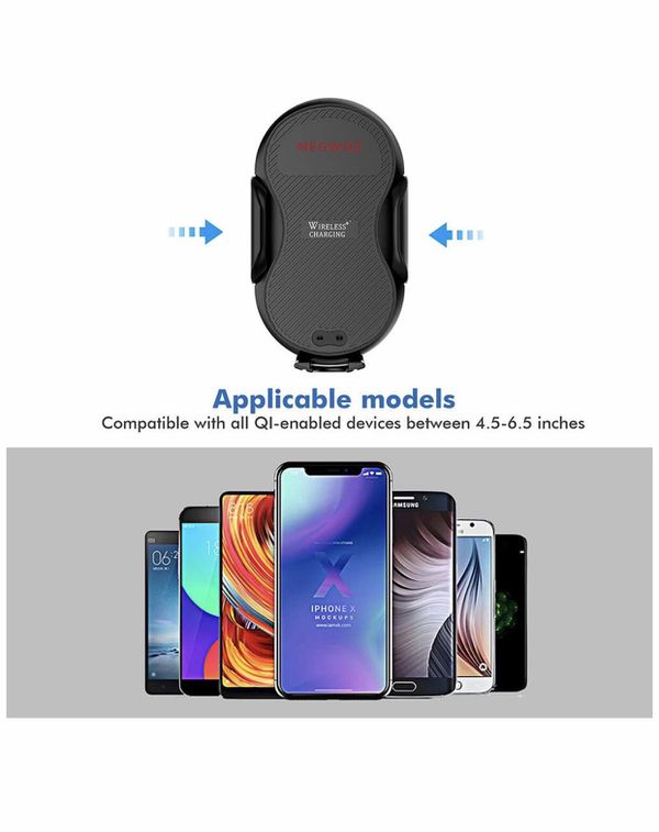 Megwoz Wireless Car Charger Mount, 10W/7.5W QI Fast Charging, Auto-Clamping, Air Vent Dashboard Phone Holder, Compatible iPhone Xs/XS Max/XR/X/8/8+,