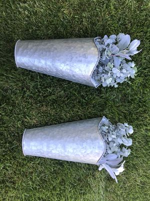 Two metal galvanized wall hanging planters. Fake plants included for Sale in Martinez, CA