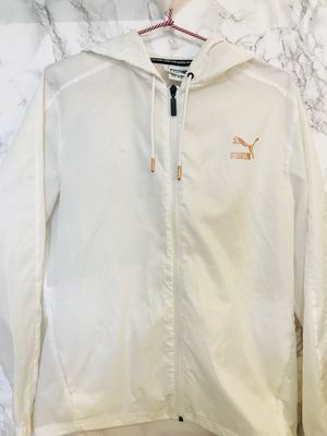 Women's White Puma Windbreaker Jacket with Rose Gold Logo for Sale in Seattle, WA