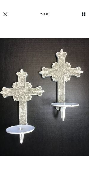 Shabby Chic scones white distressed candle holders for Sale in Covina, CA
