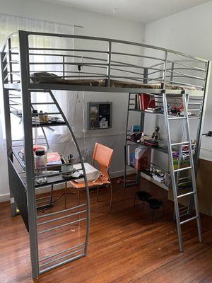 Modern bunk bed with desk and bookshelves for Sale in Miami, FL