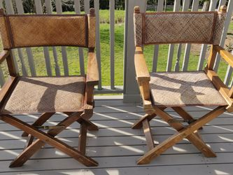 Pottery Barn - Directors Chairs - Natural Cane and Leather Seats for Sale in Bainbridge Island,  WA