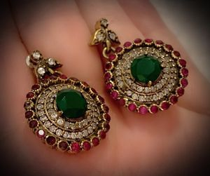 EMERALD PIGEON BLOOD RUBY FINE ART EARRINGS Solid 925 Sterling Silver/Gold WOW! Brilliant Facet Round Cut Gems, Diamond Topaz K5997 V for Sale in San Diego, CA