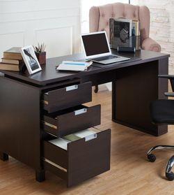 "59"" 3 Drawer Writing Desk in Espresso Finish for Sale in Commerce,  CA"