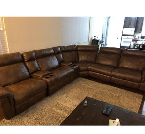 Leather sectional couch- reclining sofa set for Sale in Fontana, CA
