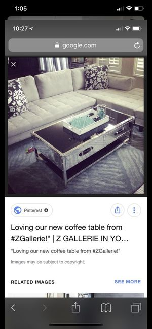 Z Gallerie metal glass coffee table rated #1 for Sale in Garden Grove, CA