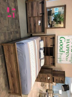 Calhoun Brown Bookcase Bedroom Set |B3000 Queen and King size bed frame Dresser Mirror Nightstand for Sale in Houston, TX