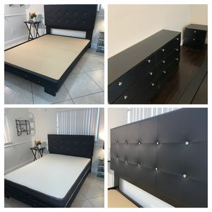 New queen 4 piece diamond 💎 bedroom set FREE DELIVERY and installation. Black bed frame, mattress dresser and night stand for Sale in Davie, FL