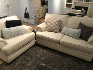 "Living Spaces ""Danielle"" Beige Couch and Armchair for Sale in Washington, DC"