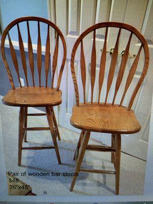Pair of wooden bar stools for Sale in Leesburg, VA