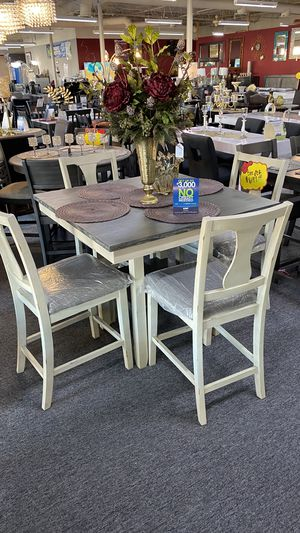 Beige and Dark brown top Counter Height Table Set with 4 chairs T3N for Sale in Euless, TX