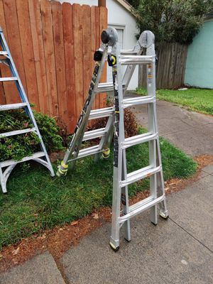 3 ladders. 24' Extension ladder. 6' a frame ladder and a 18' fold out multi position ladder. for Sale in Galt, CA