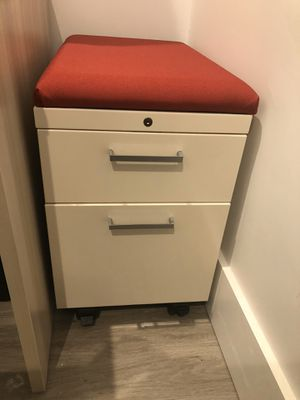 Portable file cabinet w/seat top cushion. for Sale in Cumberland, RI