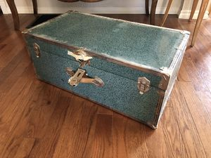 Vintage Metal Trunk Chest Treasure Box Speckled Blue Green Color for Sale in Portland, OR