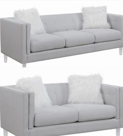 New Light Grey Sofa & Loveseat (Clear Acrylic Legs) for Sale in Las Vegas,  NV