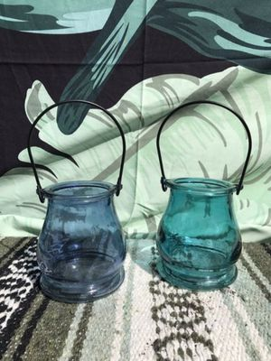 Boho Blue Glass Tealight/Candle Holders for Sale in Whittier, CA