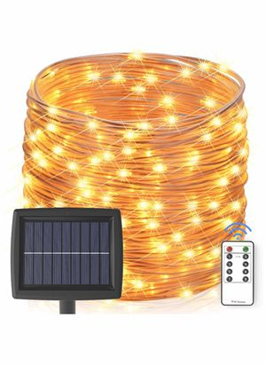 Solar String Lights Outdoor, 60 ft 200 LEDs Fairy Lights Powered by Solar and Battery, IP67 Waterproof 8 Modes RF Remote Rope Lights with for Sale in Newark, NJ