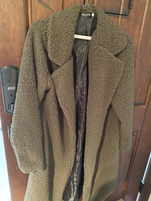 Long Olive Teddy Bear Jacket size small for Sale in Fremont, CA