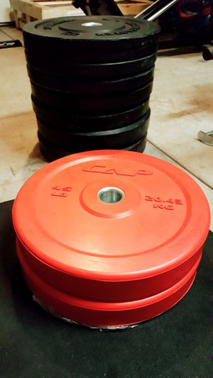 ☆ Weights - 45lb Bumper plates x2 (New) for Sale in Waianae, HI
