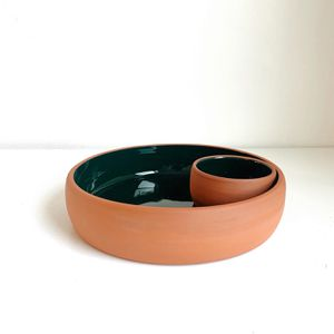 Glazed Terracotta Chip & Dip Dish for Sale in Portland, OR