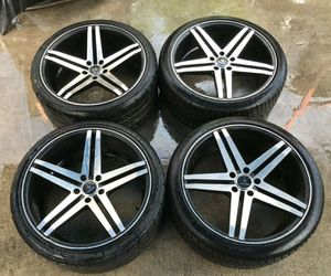 AFTERMARKET VERDE PARALLAX / CONTINENTAL 20'' INCH WHEEL RIMS W/ TIRES (SET OF 4) 5x114.3 for Sale in Fort Lauderdale, FL