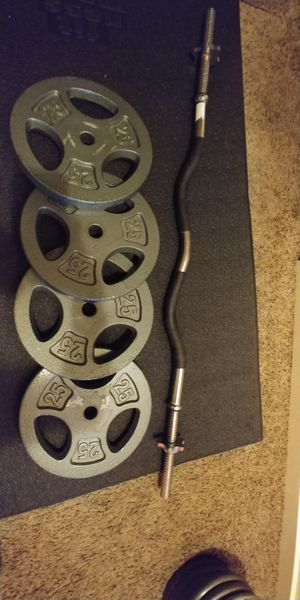 Curl bar and weights$220 for Sale in Seattle, WA