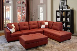 Red faux leather Sectional W/ Ottoman for Sale in Puyallup, WA