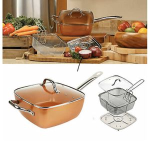 Copper Square Pan Induction for Chef w/Glass Lid, Steam Rack, Fry Basket 4PC Set for Sale in Palos Hills, IL