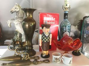 Coke phone horse decanter lamp red glass brass pieces for Sale in Des Moines, WA