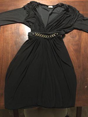 "BLACK ""V NECK"" DRESS WITH BELT for Sale in Bakersfield, CA"