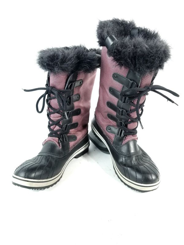Sorel Women's Sz 12 Pink Black Tofino Canvas Tall Quilted Snow Waterproof Boots