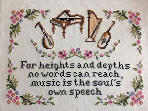 Handmade cross stitch music sampler 12x16 signed and dated for Sale in Pearland, TX