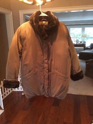Used, MARVIN RICHARDS LADIES JACKET/COAT. SIZE SMALL/MEDIUM. TAUPE COLOR WITH FAUX SABLE MINK FAUX FUR COLLAR AND CUFFS. PERFECT CONDITION. for Sale for sale  Dayton, OH