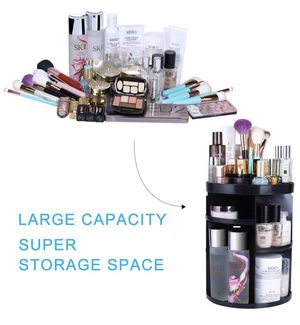 Rotating Makeup Organizers 360 Adjustable Spinning Cosmetic Storage Box Case Large Capacity Make Up Holder Vanity Shelf Fits Counter top Bathroom Kit for Sale in Edison, NJ