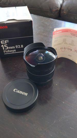 Canon FE EF15f28 15mm fish eye lens f2.8 Eos for Sale in La Mesa, CA