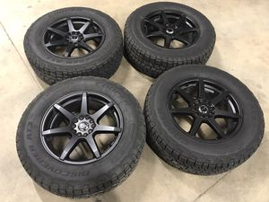 4 Cooper at3 tires and black wheels for Sale in Rogue River, OR