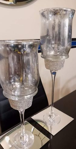 2pc Silver/Mercury Glass Candle Holders for Sale in Peoria,  IL